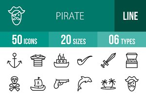 50 Pirate Line Icons