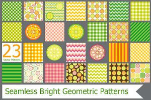 Bright geometric seamless patterns