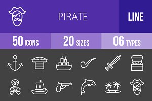 50 Pirate Line Inverted Icons