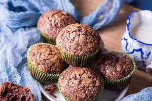 Chocolate banana muffins with sugar topping