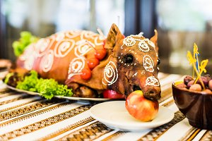 roast pig on white plate