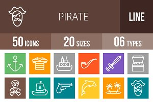 50 Pirate Line Multicolor Icons