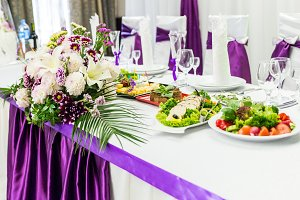 food table decorated with flowers