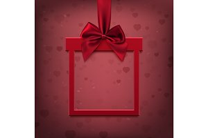 Red, square banner in form of gift with  ribbon and bow.
