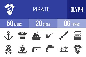 50 Pirate Glyph Icons