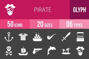 50 Pirate Glyph Inverted Icons