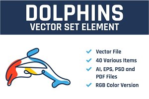 Dolphins Vector Set Element