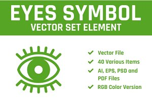 Abstract Eyes Vector Set Element