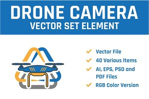 Drone Camera Vector Set Element