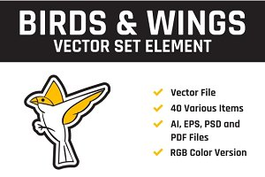 Birds Vector Set Element