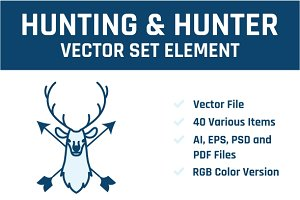 Hunting & Hunter Vector Set Element