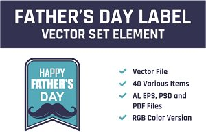 Happy Father's Days Label Vector Set