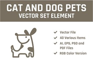 Cat & Dog Pets Vector Set Element