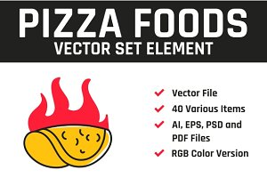 Pizza Foods Vector Set Element