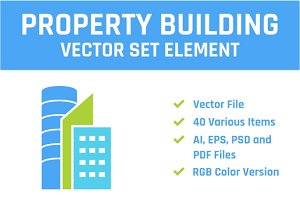 Property Building Vector Set Element