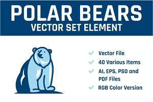 Polar Bears Vector Set Element