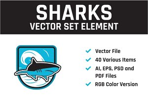 Sharks Vector Set Element