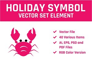 Summer Holiday Vector Set Element