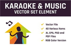 Karaoke & Music Vector Set Element