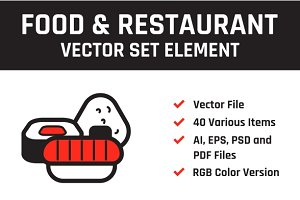 Food & Restaurant Vector Set Element