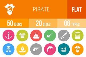 50 Pirate Flat Round Icons
