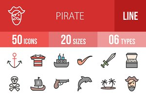 50 Pirate Filled Line Icons