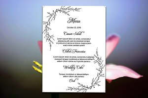 Simple Wedding Menu Card Template