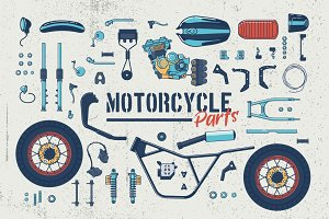 Motorcycle Parts Vector Set