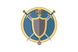 Coat of Arms Shield with Swords Illustration.