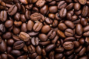 Coffee beans close-up background