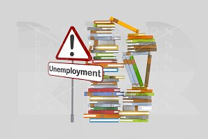 Unemployment signal and books.