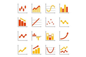 Business Graph Diagram Icons Set