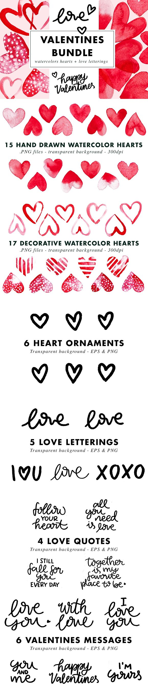Valentines Bundle Hearts & Lettering