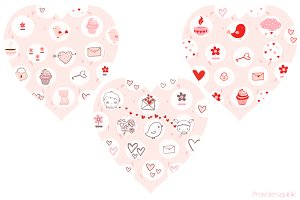 Pink hearts with cute drawings