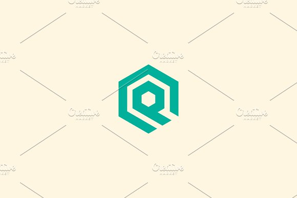 Abstract letter Q vector logotype. Line hexagon creative simple logo design template. Universal geometric symbol font icon.