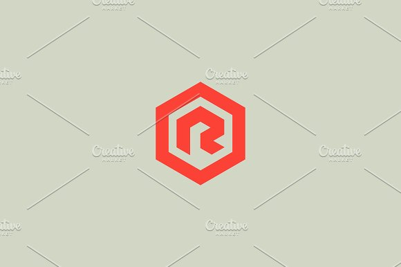 abstract letter r vector logotype line hexagon creative simple logo