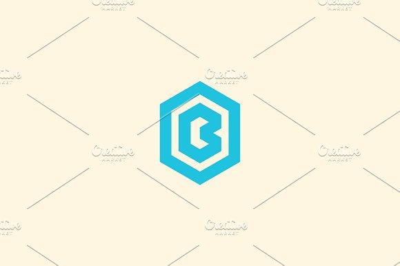 abstract letter b vector logotype line hexagon creative simple logo design template universal geometric