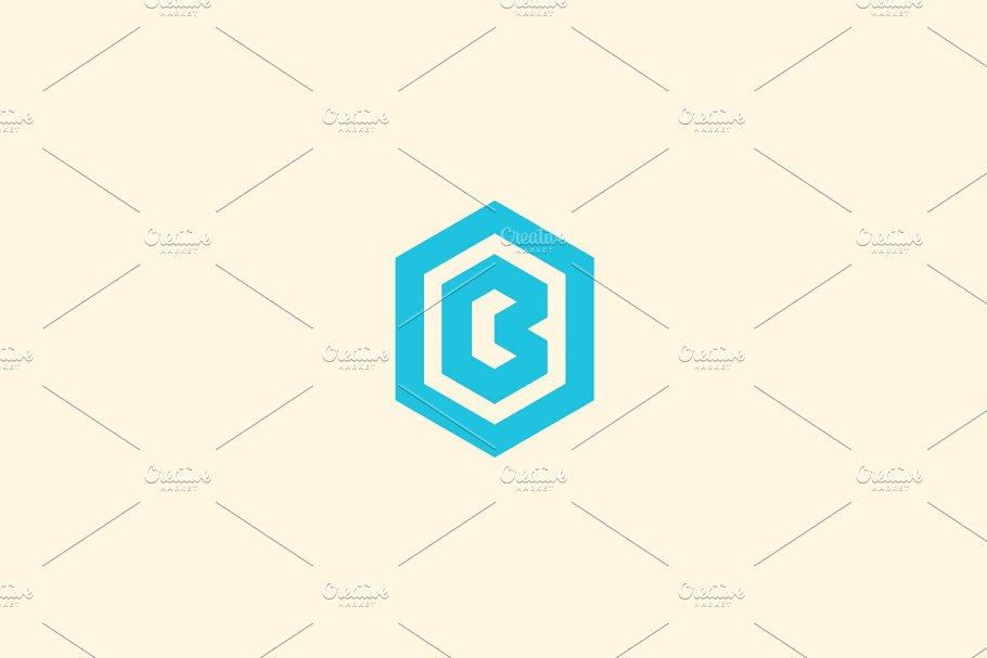 Abstract letter B vector logotype. Line hexagon creative simple logo design template. Universal geometric symbol font icon.
