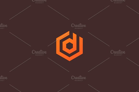 Abstract letter D vector logotype. Line hexagon creative simple logo design template. Universal geometric symbol font icon.