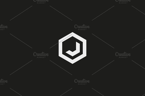 abstract letter j vector logotype line hexagon creative simple logo