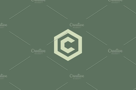 Abstract letter C vector logotype. Line hexagon creative simple logo design template. Universal geometric symbol font icon. in Logo Templates