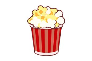 Popcorn Cinema Icon Set