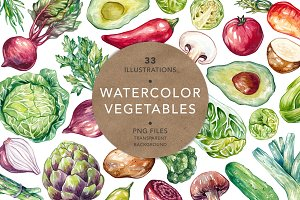 Watercolor Vegetables.