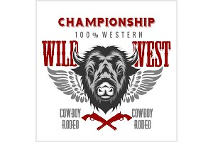Wild west rodeo - bison head, vintage vector artwork for boy wear.