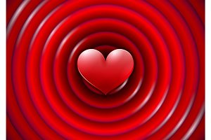 Valentines Day card with concentric circles