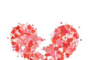Broken heart madeup of little hearts