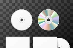Blank white compact disk and cover