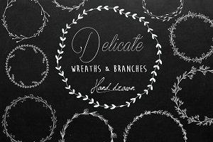 Black & White Wreaths - Hand Drawn