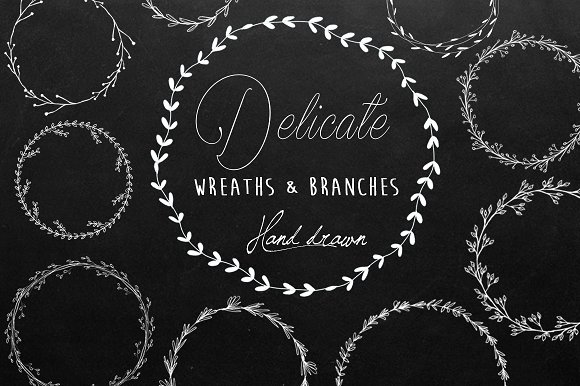 Black White Wreaths Hand Drawn