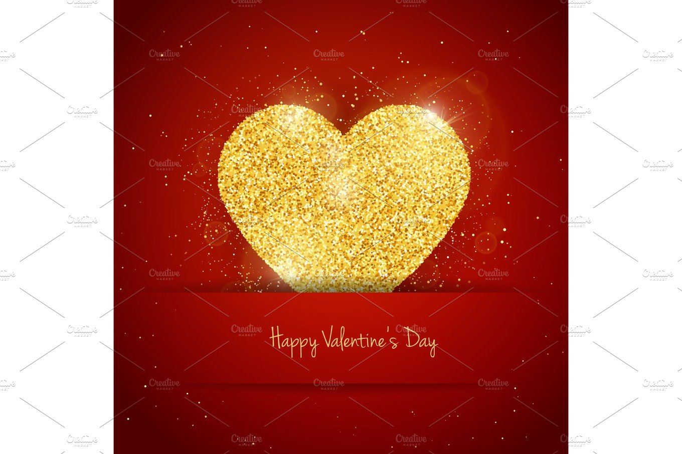 Vector Happy Valentines Day Greeting Card With Sparkling Glitter